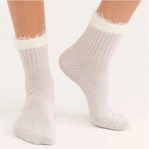 Free People Whisper Border Fog Crew Socks One Size
